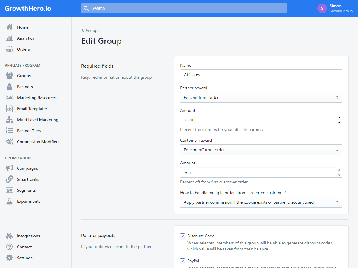 managing groups of affiliates
